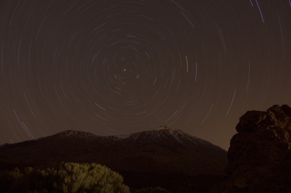 Startrails over Pico del Teide
